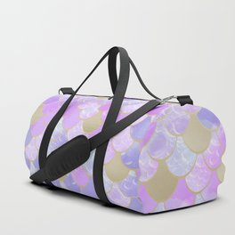 Girls, Mermaid Scales, Cute Pattern, Pink Lilac, Purple, Gold Duffle Bag