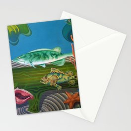 Mariana Trench Sea Bottom landscape with fish, seashells, and starfish by Hilaire Hiler Stationery Cards
