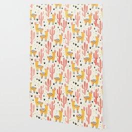 Yellow Llamas Red Cacti Wallpaper