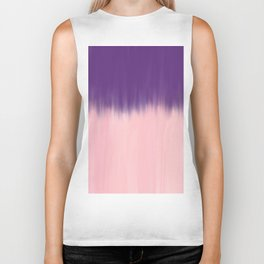 Modern abstract watercolor purple blush pink brushstrokes Biker Tank