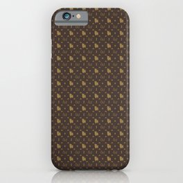 Louis Maltese Dog Brown and Beige Pattern with LM Initials and Bone Motifs iPhone Case