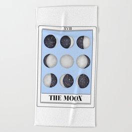 the moon tarot card Beach Towel