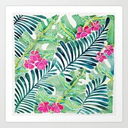 Lush Tropical Fronds & Hibiscus Art Print