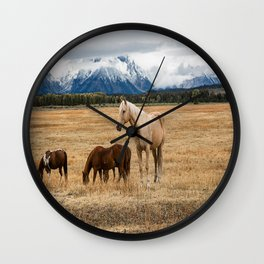 Mountain Horse - Western Style in the Grand Tetons Wall Clock