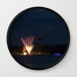 Fireworks Over Lake 11 Wall Clock