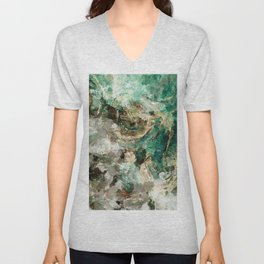 Teal Contemporary and Abstract Painting Unisex V-Neck