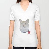 shiba inu V-neck T-shirts featuring SHIBA INU, DOG by Bless Hue