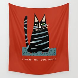 Tabby cat- with funny caption Wall Tapestry