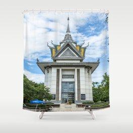 The Memorial Stupa of Choeung Ek, Cambodia Shower Curtain