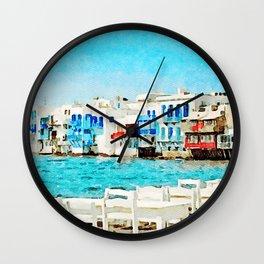 Watercolor Little Venice in Mykonos Wall Clock
