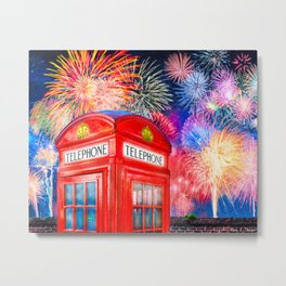 Fun Fireworks Over An Iconic Red British Phone Box Metal Print