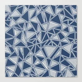 Abstract Outline Lines Navy Canvas Print