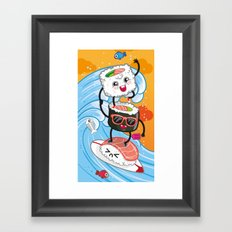 Surfin' sushi Framed Art Print