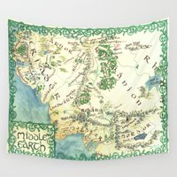 middle earth Wall Tapestries featuring Middle Earth map by Ioreth