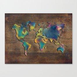 World Map wood Canvas Print