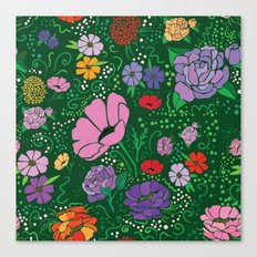 Flowers on green Canvas Print