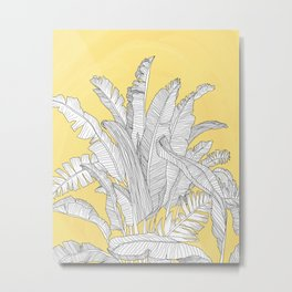 Banana Leaves Illustration - Yellow Metal Print