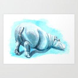 Bums-up Baby Hippo Fantasia Ballet Art Print
