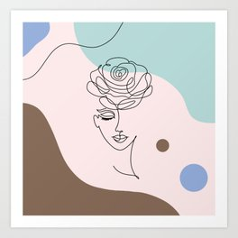 Floral Wall Art, Boho Printable Line Art, Crazy Plant Lady, Woman With Flowers, Bohemian Decor Art Print