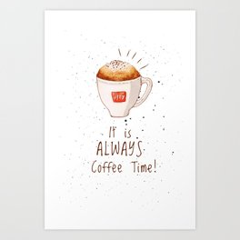 watercolor illy coffee Art Print
