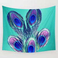peacock feather Wall Tapestries featuring Peacock feather  by Erika Kaisersot