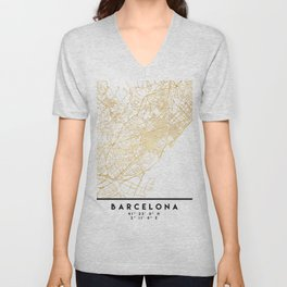 BARCELONA SPAIN CITY STREET MAP ART Unisex V-Neck