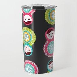 dolls matryoshka on black background, pink and blue colors Travel Mug