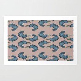 Blue Platypus Art Print