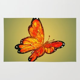 Orange Watercolor Butterfly Design Rug