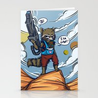 rocket raccoon Stationery Cards featuring Rocket Raccoon and Baby Groot  by BlacksSideshow