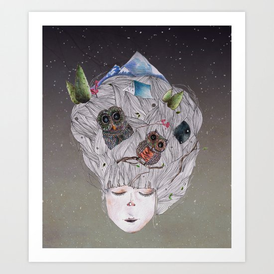 there are night-times inside me Art Print