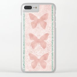 Snow White Peach Butterfly Abstract Pattern Clear iPhone Case