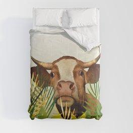 Cow looking between leaves Comforters