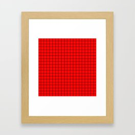 Black Grid On Red Framed Art Print