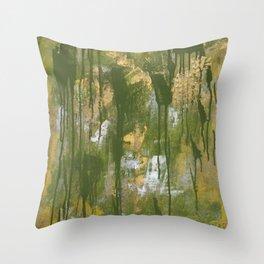 Green Grunge Throw Pillow