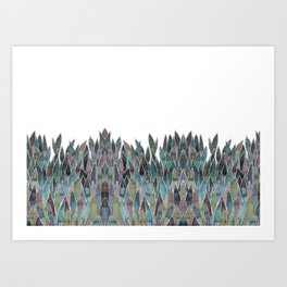 Plants decorations shades of green and purple watercolor Art Print