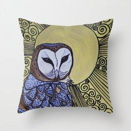 Barn Owl Art Nouveau Panel in yellow Throw Pillow