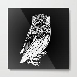 TWO OWLS, Black & White Engraving Print Metal Print