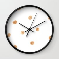 gold dots Wall Clocks featuring gold dots by rad owl LLC