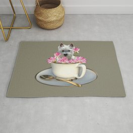 White Terrier dog in Cup with Lotos Flowers Rug