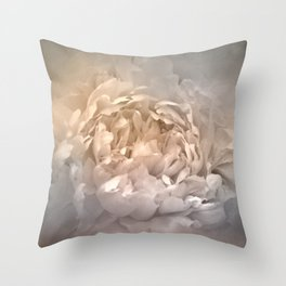 Blushing Silver and Gold Peony - Floral Throw Pillow