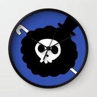 one piece Wall Clocks featuring One Piece Brook yohohoho by Limon93