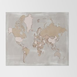"""Rustic world map in grey and brown """"Lucille"""" Throw Blanket"""