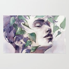 A man with ivy, watercolor portrait Rug