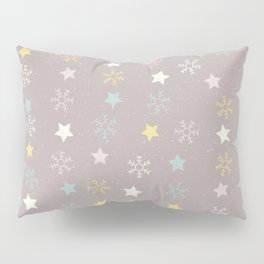 Pastel brown pink yellow Christmas snow flakes stars pattern Pillow Sham