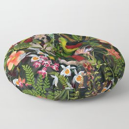 Vintage & Shabby Chic - Black Tropical Parrot Night Garden Floor Pillow