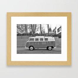 Retro Van (Black and White) Framed Art Print