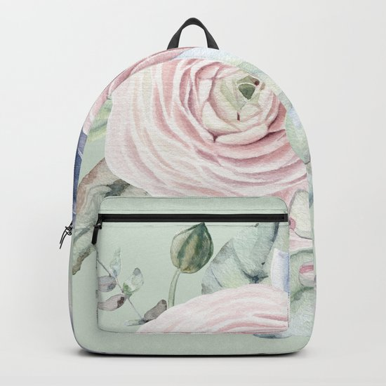 Mint Green + Pink Delight Succulents Backpack