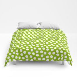 White Polka Dots on Fresh Spring Green - Mix & Match with Simplicty of life Comforters