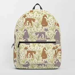 Adorable Fox Friends, Animal Pattern in Nature Colors of Grey and Brown with Paw Prints Backpack